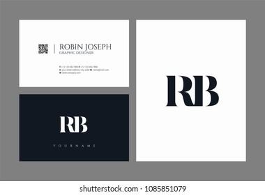 Letters R B joint logo icon with business card vector template.