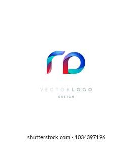Letters R D, R & D logo, multi colour letters icon vector template.