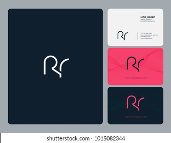 Letters R R, R & R joint logo icon with business card vector template.