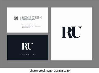 Letters R U joint logo icon with business card vector template.