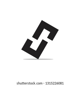 letters rj simple geometric square logo vector
