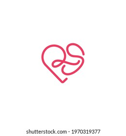 Letters RS SR forming heart symbol logo vector icon initial company name sign design