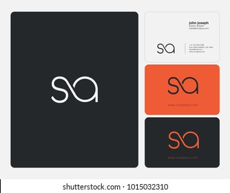 Letters S A, S & A joint logo icon with business card vector template.