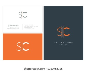 Letters S C, S & C joint logo icon with business card vector template.