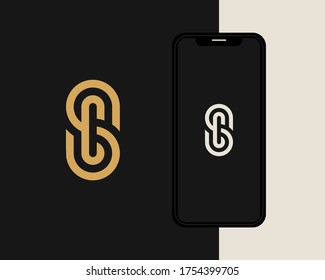 Letters S and C or SC line logo design. Linear minimal stylish emblem. Luxury elegant vector element. Premium business logotype. Graphic alphabet symbol for corporate business identity