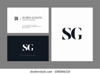 Letters S and G joint logo icon with business card vector template.