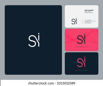 Letters S I, S & I joint logo icon with business card vector template.