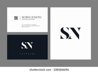 Letters S and N joint logo icon with business card vector template.