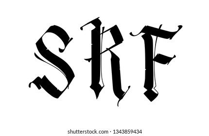 The letters S, R, F in the Gothic style. Vector. Signs and symbols, monogram. Badges for logo. Medieval style. Old vintage style. Mini set of letters.