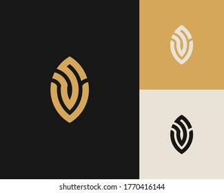 Letters S and V or SV line logo design. Linear minimal stylish emblem. Luxury elegant vector element. Premium business logotype. Graphic alphabet symbol for corporate business identity
