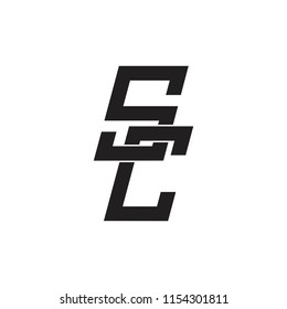 letters sc linked chain design logo vector