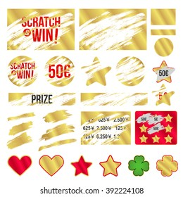 Letters scratch to win. With effect from scratch marks. Suitable for scratch card game and win. Gold effect. vector