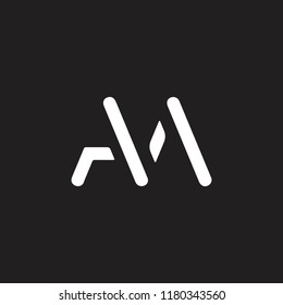 letters am simple geometric monogram logo vector