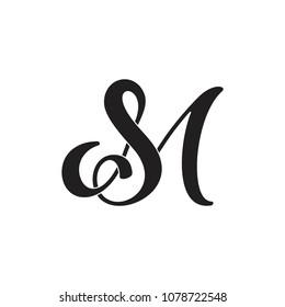 letters sm curves typography design logo