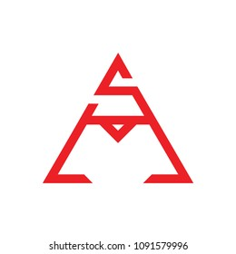 letters sm geometric triangle design logo