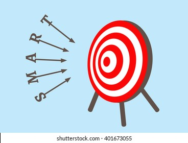 Letters of smart arrow run to goals target in bullseye on dartboard, Successful business concept, vector illustration design