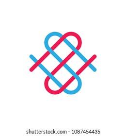 letters sn linked lines love symbol design logo
