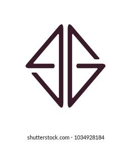 letters eg square lines art logo vector