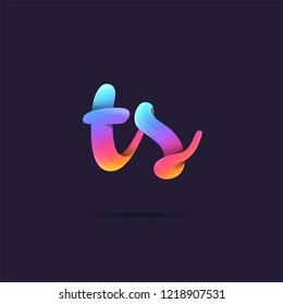 Letters T & S 3D logo, multi colour gradient letters icon vector template.