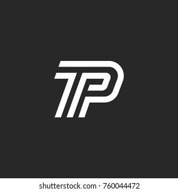 Letters TP logo initials minimal style monogram, thin line calligraphic emblem PT, linear two symbols P T together