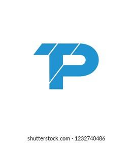 letters tp simple geometric logo vector