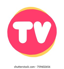 Letters TV. Logo concept. Badge, mark, symbol, icon vector illustration on white background.