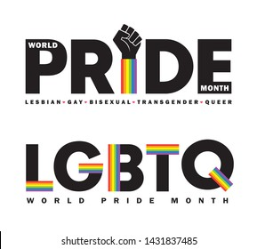 Letters or typeface of Pride month in rainbow spectrum isolated on white background. LGBTQ rights concept art for poster, card or banner. Lesbian, Gay, Bisexual, Transgender & Queer.
