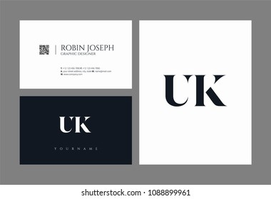 Letters U & K logo icon with business card vector template.