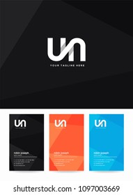 Letters U & N joint logo, emblem or icon with business card vector template.
