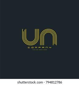 Letters U & N, UN joint logo icon. Stroke letter vector element.