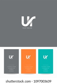 Letters U & R joint logo, emblem or icon with business card vector template.