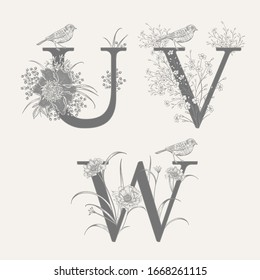 Letters U V W, flowers peonies, decorative herbs and birds isolated set. Vector decoration. Black and white. Vintage illustration. Floral pattern for greetings, wedding invitations, text design.