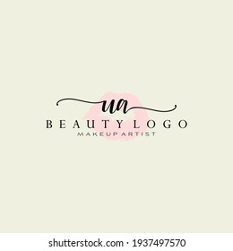 Letters UA, Watercolor Lips, Premade Logo Design, Logo for Makeup Artist Business Branding, Blush Beauty Boutique Logo Design, Calligraphy Logo