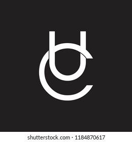 letters uc overlapping design logo