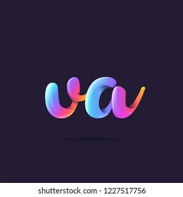 Letters V A, V & A 3D logo, multi colour gradient letters icon vector template.