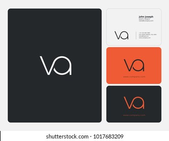 Letters V A, V & A joint logo icon with business card vector template.
