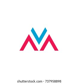 letters v m triangle arrow logo vector