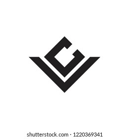 letters vc simple geometric logo vector