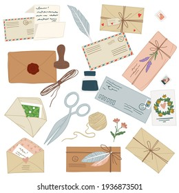 Letters and vintage envelopes with decorative flowers and threads, sealing wax and feather. Communication by postal mail, sending and receiving papers with text. Vector in flat style illustration