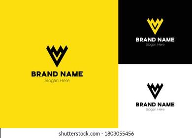 letters VM Triangle Arrow Logo Vector