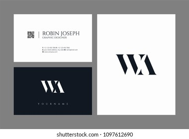 Letters W A, W & A joint logo icon with business card vector template.