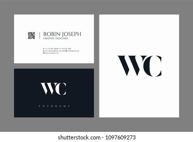 Letters W C, W & C joint logo icon with business card vector template.