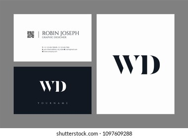 Letters W D, W & D joint logo icon with business card vector template.