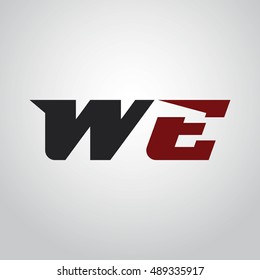 The letters W and E logo automotive black and red colored
