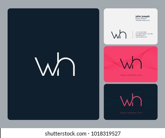 Letters W H, W & H joint logo icon with business card vector template.