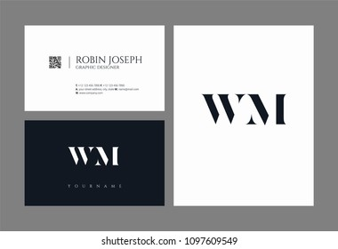 Letters W M, W & M joint logo icon with business card vector template.
