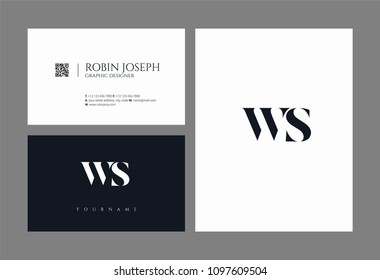 Letters W S, W & S joint logo icon with business card vector template.