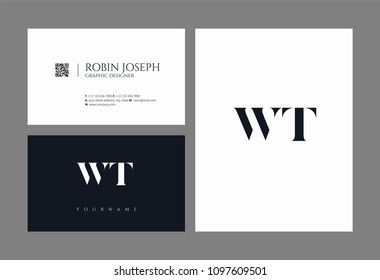 Letters W T, W & T joint logo icon with business card vector template.