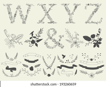 Letters W, X, Y, Z and ampersand. Floral elements of vintage alphabet in vector