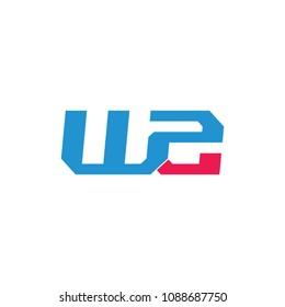 letters w2 linked geometric design logo